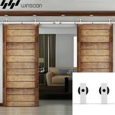 winsoon 5 16ft sliding barn door hardware double doors track kit modern white barn door