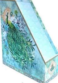 Punch Studio Magazine Holder pUNCH sTUDIO Magazine File Holder Blue Rose Watercolor Peacock 13