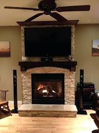 hanging tv brick fireplace stone mounted mantle mount on existing lower