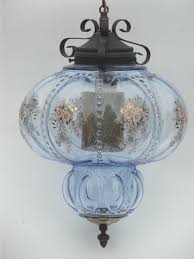huge vintage swag lamp hanging light w ice blue glass globe shade