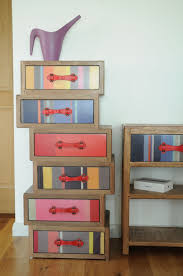 bright coloured furniture. Bayadere Multi Coloured Bright Striped Asymmetric Six Drawer Quirky Chest Of Drawers Furniture
