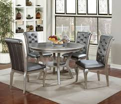 amina contemporary style champagne finish 5 pc finish round dining table w silver finish chairs