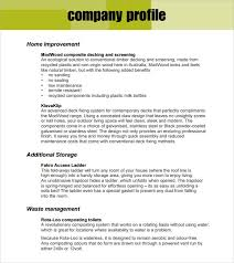 Example Of Company Profile Template
