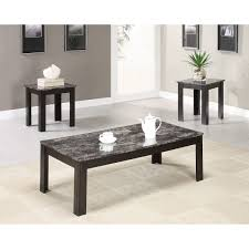 black marble top for coffee table design with black stained wooden frame with four legs as