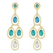 swarovski crystal multi colored last summer gold plated chandelier earrings