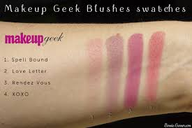 makeup geek blushes spell bound love letter rendez vous xoxo swatches