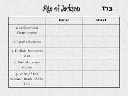 The Age Of Jackson Cause And Effect Chart Ppt Video