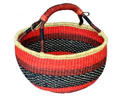 round basket with leather handle g 159a 16 18