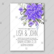 Purple Violet Peony Wedding Invitation Vector Printable