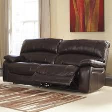 Ashley Furniture Damacio Leather Power Reclining Sofa in Dark