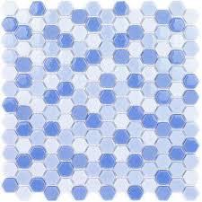 recoup hexagon azure 11 5 in x 12 in x 6 mm glass mosaic floor