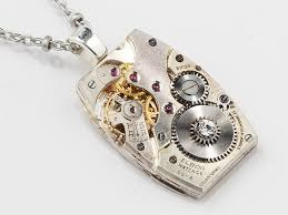 steampunk necklace silver watch movement swarovski crystal unisex steampunk necklace silver watch movement swarovski crystal unisex mens womens pendant steampunk jewelry