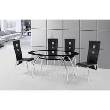 birlea soho oval glass dining table set with black chairs for