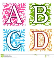 Designer Letters Ofthe Alphabet A B C D Alphabet Letters Floral Elements Royalty Free