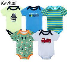 Kavkas 2018 <b>5pieces</b>/<b>lot Baby Bodysuit</b> Set Summer Wear Short ...