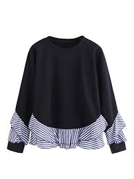 Shein Womens Casual Round Neck Long Sleeve Striped Contrast Sweatshirt
