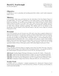 Resumes Youth Pastore Cover Letter Ministry Objective Template