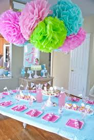 Simply Pretty Dessert Table Decor With Tissue Paper Pom Poms And