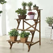 garden rack. 4 Tier Wood Slat Plant Rack, Indoor / Outdoor Garden Display Stand Shelf Rack P