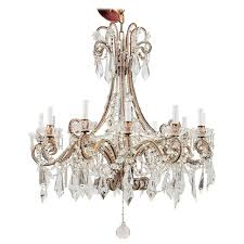 twelve light italian crystal chandelier with large drops and lots of beading from a unique