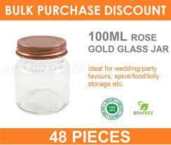 48 x 100ml small glass jars with rose gold lid conserve preserving e jam jar