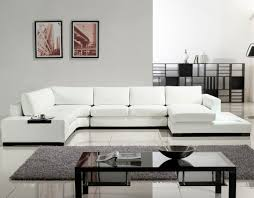 White Leather Chairs For Living Room Mesmerizing White Leather Sofa U Shaped Built In End Table And