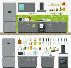 Concept of modern kitchen Flat horizontal banners with kitchen
