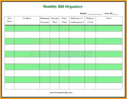 Expense Spreadsheet Bill Tracking Template Household Bills Free