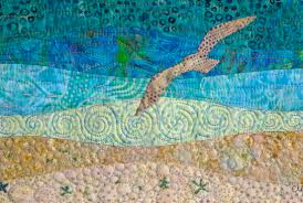 Creative Art Quilts: 5 Ways to Tap Into Your Inner Artist & Landscape Quilt with Flying Seagull and Beaded Detail Adamdwight.com