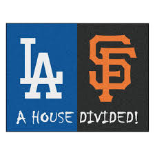 fanmats mlb dodgers giants house divided gray 3 ft x 4 ft area rug 12249 the home depot