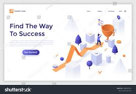 Victory Arrow Chart Landing Page Template With Arrow Chart And Man Finishing And
