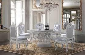 white dining room set formal. Homey Design- Victorian Round Dining Table With Decorative Center And White Wood Trims Silver Cushion Fabric Upholstered Back Front Room Set Formal R