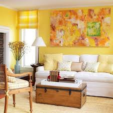 Yellow Wall Living Room Decor Living Room With Abstract Wall Art And Yellow Walls Also Roman