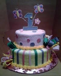 2 Tier Pink And Yellow Flower And Butterfly Theme First Birthday
