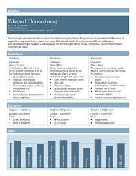 Tabular Bar Chart Resume Template Free Good Resume