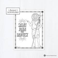 ► saint john the baptist as a boy (5 c, 5 f). Catholic Coloring Page Saint John The Baptist Catholic Saints Printable Coloring Page Digital Pdf