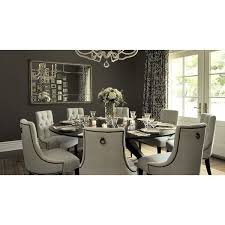 dining rooms tufted baker dining chairs walnut round modern spider dining table taupe charcoal gray walls silver mirror french doors white black ds