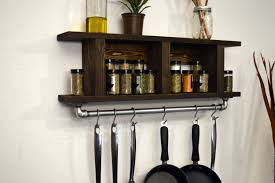Kitchen Wall Shelves Kitchen Wall Mounted Kitchen Shelf Made Of Wood With Hook Made Of