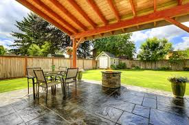 beautiful covered patio with tile