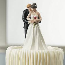 Single Red Rose Bride And Groom Figurine Cake Topper