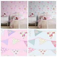 Pink Wallpaper Bedroom Bunting Wallpaper Blue Pink Pastel Floral Design Washable Girls