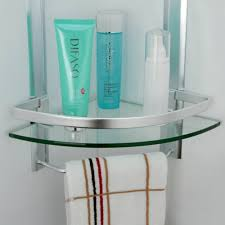 kes bathroom 2 tier corner glass shelf with wide rail and towel bar hanger aluminum frame