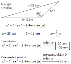the triangle problem the solution of the quadratic equation mathcad
