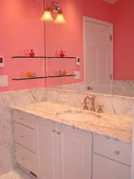 Bathroom:Modern Small Pink Bathroom With White Bathtub And Sink Idea  Glamorous Bathroom Vanities With