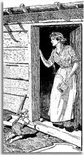 pioneer woman clothing drawing. 1900 chronicle drawing of pioneer mother at door log cabin woman clothing