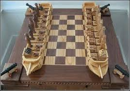Wooden Board Game Sets CARVED WOODEN PIRATE SHIP chess with cannons Unique for sure 69