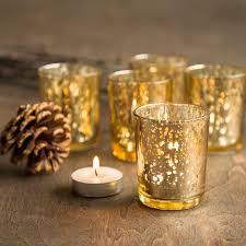 Wedding Tea Light Holders In Bulk Set Of 12 Gold Mercury Glass Candle Votive Mercury Glass