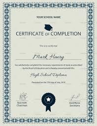 School Certificate Design Psd Editable High School Diploma Completion Certificate Design