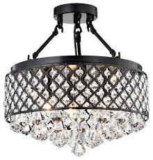 antique black semi flush mount crystal chandelier 4 light ceiling fixture contemporary flush