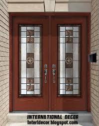 american wooden door with stained glass design classic wooden door